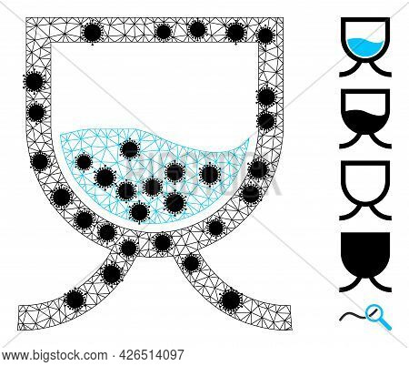 Mesh Water Tank Polygonal 2d Vector Illustration, With Black Virus Items. Carcass Model Is Based On