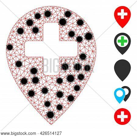 Mesh Clinic Map Pointer Polygonal Icon Vector Illustration, With Black Infection Elements. Carcass M
