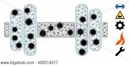 Mesh Barbell Polygonal Icon Vector Illustration, With Black Coronavirus Nodes. Carcass Model Is Crea