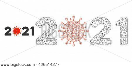 Mesh 2021 Covid Year Model Icon. Wire Carcass Triangular Mesh Of Vector 2021 Covid Year Isolated On