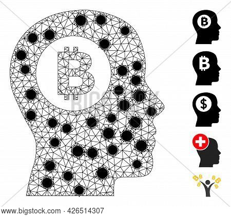 Mesh Bitcoin Thinking Polygonal Icon Vector Illustration, With Black Virus Elements. Abstraction Is