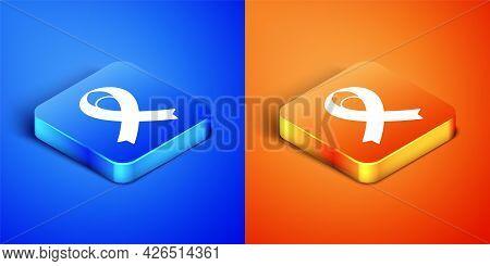 Isometric Awareness Ribbon Icon Isolated On Blue And Orange Background. Public Awareness To Disabili