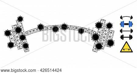 Mesh Heavy Barbell Polygonal Icon Vector Illustration, With Black Infectious Elements. Model Is Base