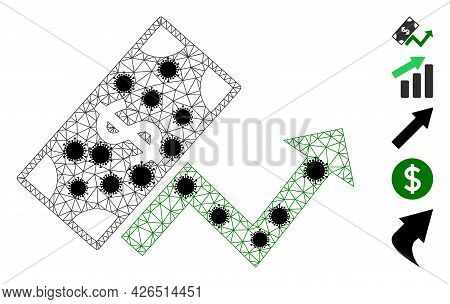 Mesh Dollar Growth Trend Polygonal Symbol Vector Illustration, With Black Coronavirus Elements. Mode