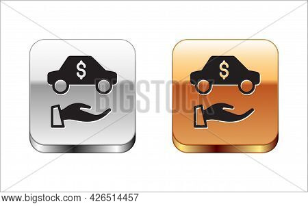 Black Car Rental Icon Isolated On White Background. Rent A Car Sign. Key With Car. Concept For Autom