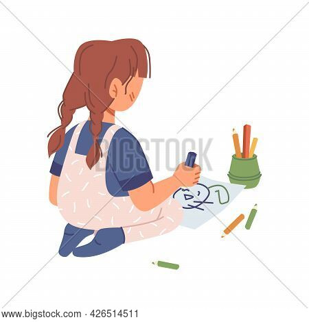 Preschool Girl Drawing On Paper With Crayons, Small Kid Playing And Creating Picture With Colorful P