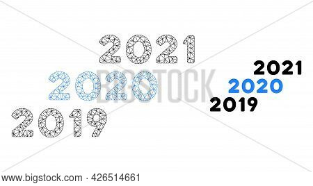 Mesh 2019 - 2021 Years Model Icon. Wire Carcass Polygonal Mesh Of Vector 2019 - 2021 Years Isolated