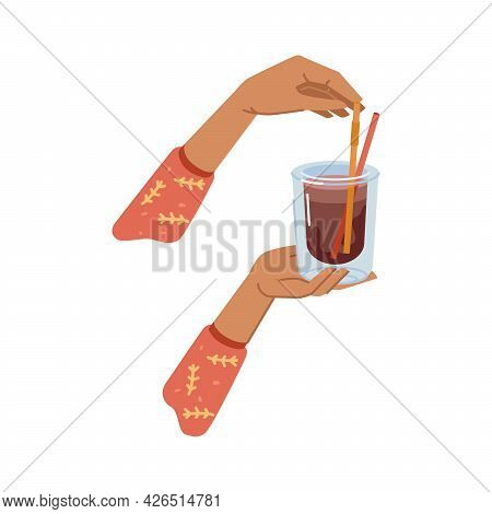 Cocoa Or Tea Hot Beverage Poured In Glass Cup With Decorative Straw. Hands Holding Mug With Drink, C