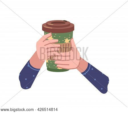 Take Away Coffee, Hot Beverage Poured In Paper Or Plastic Cup. Isolated Hands Holding Tasty Drink Wi