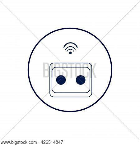 Smart Socket Icon Illustration. Socket With Wi-fi Symbol