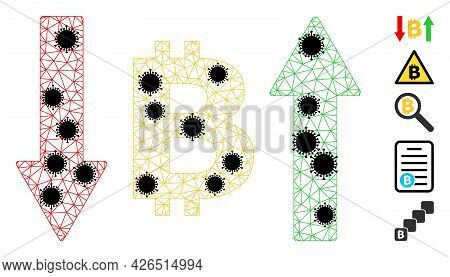 Mesh Bitcoin Volatility Polygonal Icon Vector Illustration, With Black Covid Nodes. Carcass Model Is