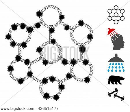 Mesh Blockchain Polygonal Icon Vector Illustration, With Black Infection Centers. Carcass Model Is B