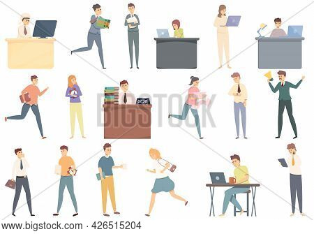 Late Work Icons Set Cartoon Vector. Daily Hour. Morning Time Work