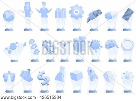 Hologram Projection Icons Set Cartoon Vector. Experience Reality. Ar Industry