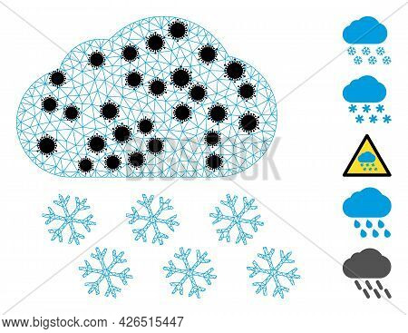 Mesh Snow Cloud Polygonal Symbol Vector Illustration, With Black Infection Nodes. Model Is Created F