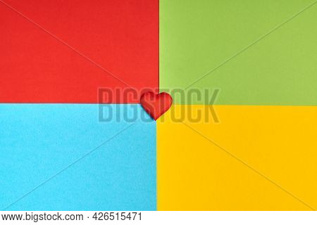 Heart On Colorful Background Of Famous Computer Corporation, Software Manufacturer Logo. Love Softwa