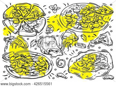 Hand Drawn Vector Line Illustrations Food With Graphic Of Pizza On The White Background. Doodle Vint