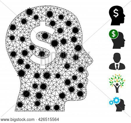 Mesh Banker Head Polygonal Icon Vector Illustration, With Black Infection Elements. Abstraction Is C