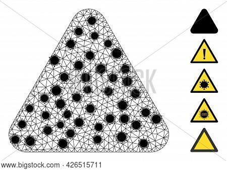 Mesh Rounded Triangle Polygonal Symbol Vector Illustration, With Black Covid Centers. Carcass Model
