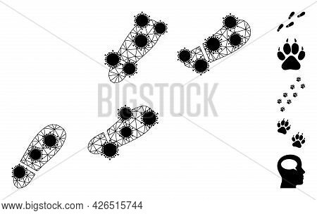 Mesh Human Footprints Trail Polygonal Icon Vector Illustration, With Black Covid Centers. Abstractio