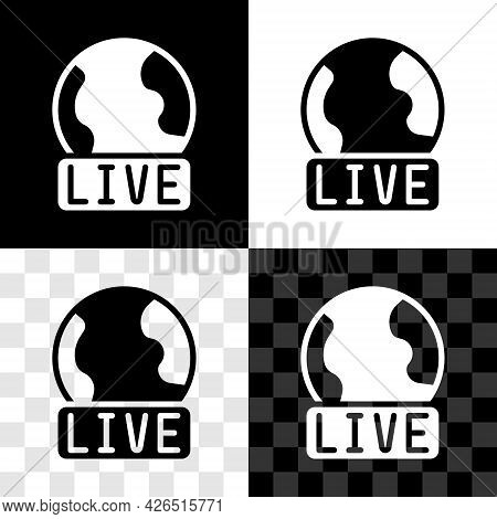 Set Live Report Icon Isolated On Black And White, Transparent Background. Live News, Hot News. Vecto