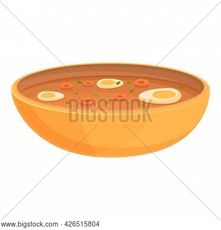 French Egg Soup Icon Cartoon Vector. Vegetable Food. Dish Plate Soup