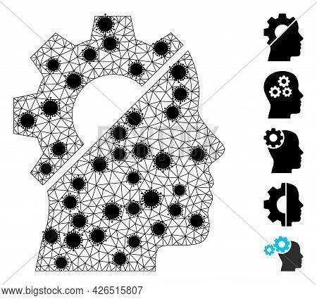 Mesh Cyborg Gear Polygonal Icon Vector Illustration, With Black Virus Items. Model Is Based On Cybor