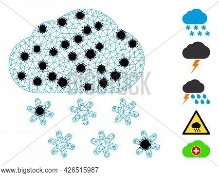 Mesh Snow Weather Polygonal 2d Vector Illustration, With Black Infectious Items. Carcass Model Is Ba
