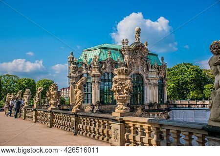 17 May 2019 Dresden, Germany - Wallpavillon Of Zwinger From Balcony, A Baroque Palace In Dresden, Ge