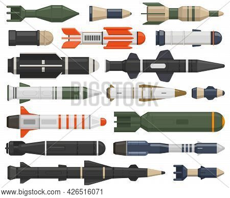 Military Rocket Weapon. Ballistic Weapons, Nuclear, Aerial Bombs, Cruise Missiles And Depth Charges