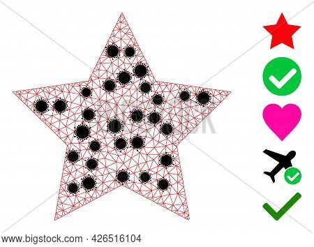 Mesh Star Polygonal Symbol Vector Illustration, With Black Virus Nodes. Carcass Model Is Created Fro