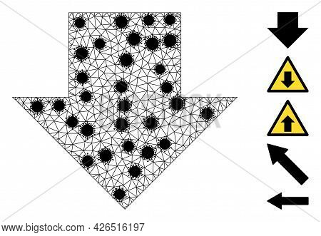 Mesh Download Arrow Polygonal 2d Vector Illustration, With Black Covid Centers. Carcass Model Is Cre