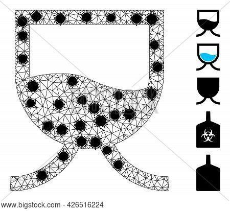 Mesh Liquid Tank Polygonal Icon Vector Illustration, With Black Virus Items. Carcass Model Is Create