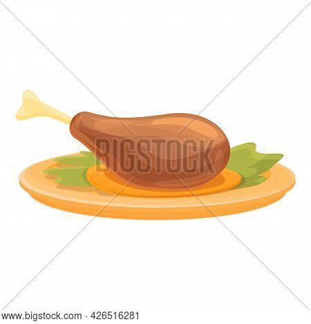 Cooked Chicken Leg Icon Cartoon Vector. Roast Turkey Food. Chicken Meat