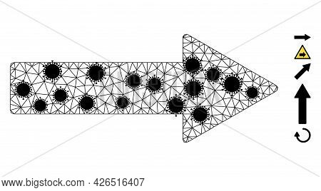 Mesh Right Arrow Polygonal Icon Vector Illustration, With Black Virus Nodes. Abstraction Is Based On