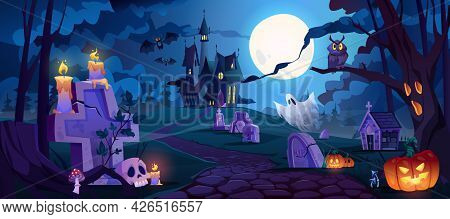 Graveyard And High Spooky Castle On Top, Cemetery With Skulls And Candles, Pumpkins With Lights And