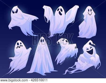 Good And Evil Ghosts Of Halloween, Isolated Set Of Personages In Costumes. Floating Apparitions With