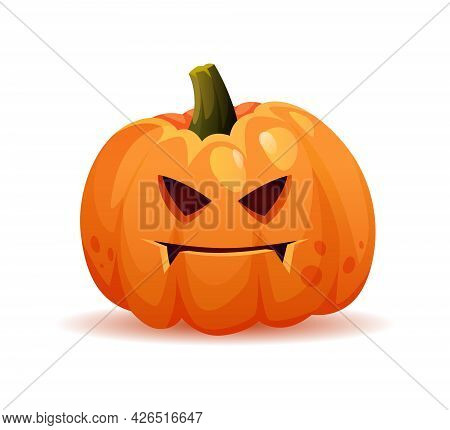 Spooky And Evil Halloween Pumpkin Personage With Frown On Face, Scary Expression Of Symbol Of Octobe
