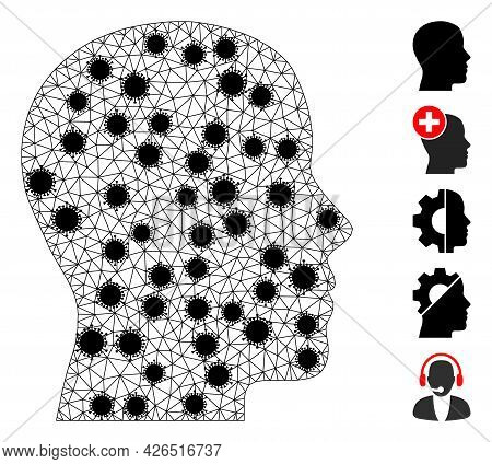 Mesh Man Profile Polygonal Icon Vector Illustration, With Black Virus Items. Carcass Model Is Based