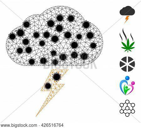 Mesh Thunderstorm Polygonal Icon Vector Illustration, With Black Coronavirus Nodes. Carcass Model Is