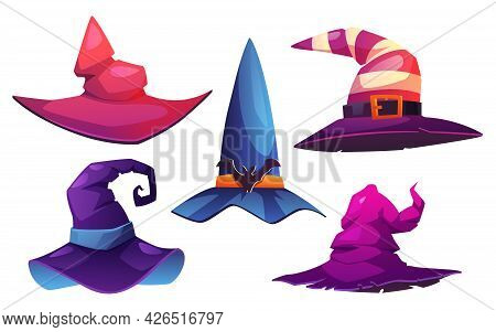 Headwear Of Witches And Wizards, Isolated Set Of Pointed Cone Hats Decorated With Buckles And Belts,