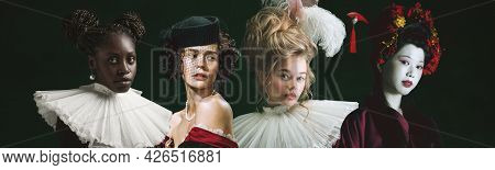 Four Beautiful Women, Medieval People As A Royalty Persons In Vintage Clothing On Dark Background. C