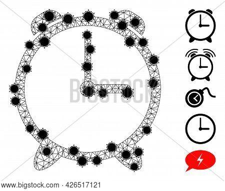 Mesh Alarm Clock Polygonal Icon Vector Illustration, With Black Virus Centers. Model Is Based On Ala