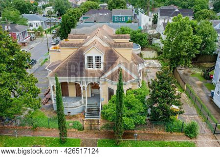 New Orleans, La - June 30: Rooftop View Of Abandoned Victorian House With Surrounding Streets And Ho