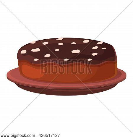 Chocolate Pie Icon Cartoon Vector. Cake Marshmallow. Food Chocolate Snack