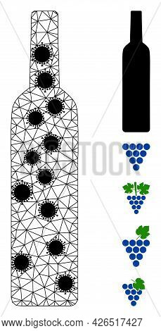 Mesh Wine Bottle Polygonal Icon Vector Illustration, With Black Infectious Elements. Carcass Model I