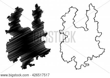 Greiz District (federal Republic Of Germany, Rural District, Free State Of Thuringia) Map Vector Ill