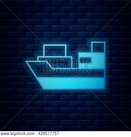 Glowing Neon Cargo Ship With Boxes Delivery Service Icon Isolated On Brick Wall Background. Delivery