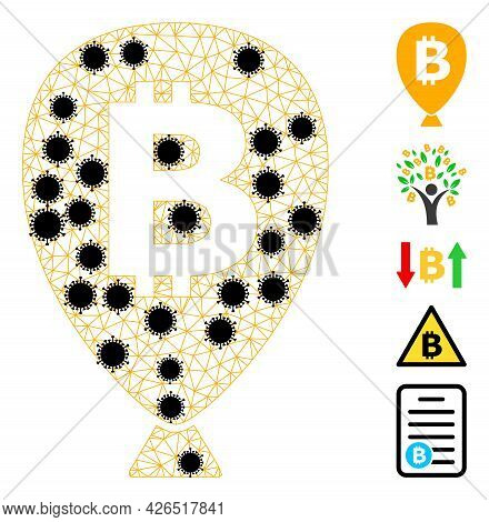 Mesh Bitcoin Balloon Polygonal 2d Vector Illustration, With Black Infectious Centers. Abstraction Is