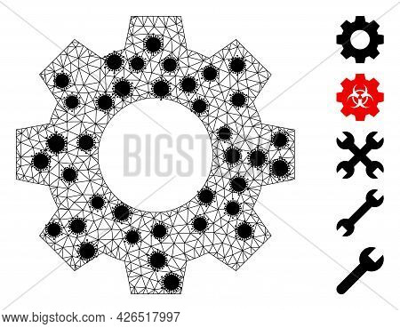 Mesh Gear Polygonal Icon Vector Illustration, With Black Virus Centers. Carcass Model Is Based On Ge